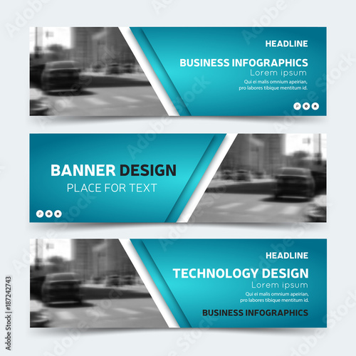 Horizontal business banner templates vector corporate identity horizontal business banner templates vector corporate identity design technology background layout modern blue wajeb