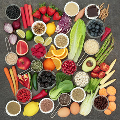 Diet health food and herbal medicine with herbs used as appetite suppressants, legumes, seeds, vegetables, fruit, coffee and supplement powders. Dieting concept .