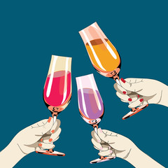 Three womens hands holding the glasses with drinks. Vector illustration on blue background