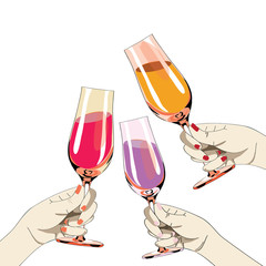 Three womens hands with colored nails holding the glasses with drink. Vector illustration on white background