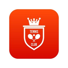 Coat of arms of tennis club icon digital red