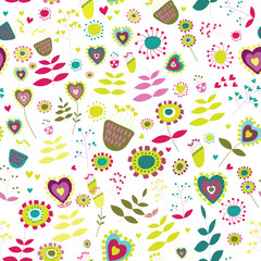 Cute flowers seamless pattern. Vector illustration of pink flowers with light green leaves and hearts on white background