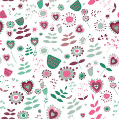 Cute flowers seamless pattern. Vector illustration of pink, purple and turquoisel flowers on white background