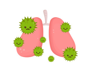 Sick unhealthy lungs with disease angry
