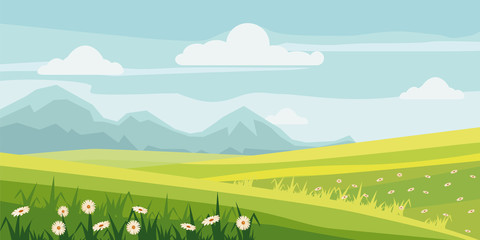 Cute rural landscape tree, field, daisy flowers, cartoon style, vector, illustration, isolated