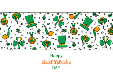 Saint Patrick's Day banner, background, header, flyer with flat color line icons - shamrock, hat, pipe, medal and air balloons. Irish holiday card, poster, leaflet concept with symbols if Ireland.