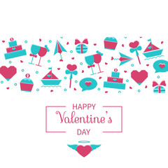 Valentine's Day banner, background, header, card template with cute cartoon love and romantic symbols. Wedding, marriage, honeymoon, engagement, dating vector illustration.