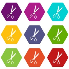 Sewing scissors icon set color hexahedron