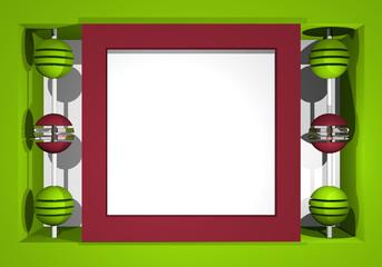 Abstrakter Hintergrund in kräftigen Farben mit geometrischen Formen grün, altrosa und weiß. 3d render