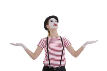 jeune fille mime maquillage blanc théâtre mimant jonglerie