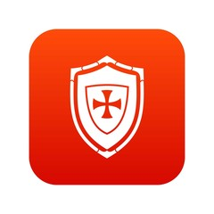 Shield with cross icon digital red