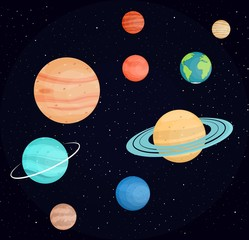 Planets of the solar system. Science and education. Bright planets against a dark space . In flat style. Cartoon.