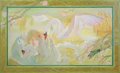 Swan Lake. Fantasy fairyland landscape with dreaming girl and swans. Oil painting on wood.