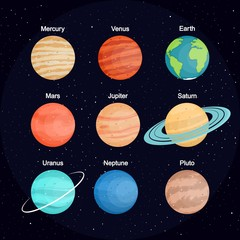 The set of planets of the solar system against the background of space. Planet names. In flat style. Cartoon.