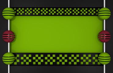 Abstrakter Hintergrund in Kastenform mit Balken aus Würfeln (oben und unten) mit Schachbrettmuster und Kugeln an einer Stange an den Seiten in schwarz und apfelgrün und altrosa. 3d render