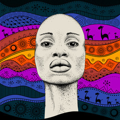 African Girl with African hand draw ethno pattern, tribal background. Beautiful black woman. Profile view. Vector illustration