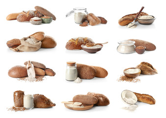 Collage with buckwheat flour and fresh bread on white background