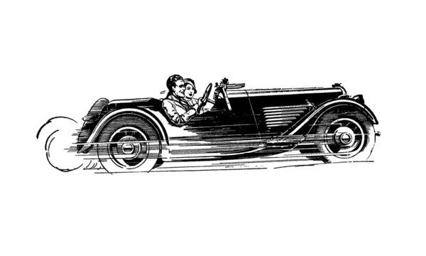 Vintage Retro Fast Car Illustration