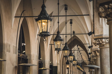 An ancient metal street lamps in Krakow city, Poland, Europe.