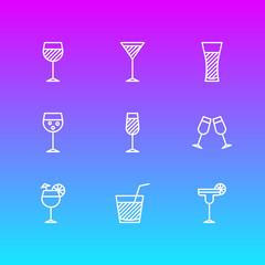 Vector illustration of 9 beverage icons line style. Editable set of margarita, lemonade, beverage and other elements.