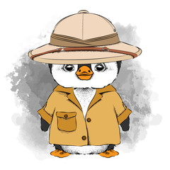 A cartoon penguin in the summer bright pool and in the cap of traveler. Vector illustration