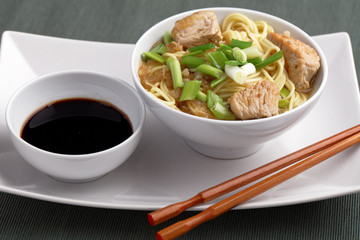 Udon noodle soup with chicken and soy sauce