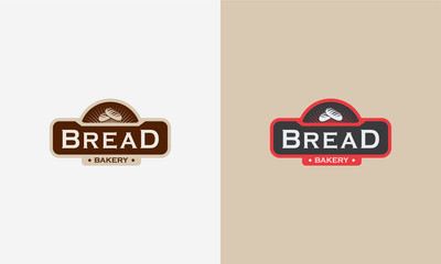 Vintage Bakery logo badge designs, Bread logo designs badge vector illustration