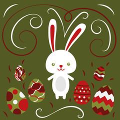 Happy easter rabbit, easter funny bunny and eggs