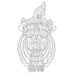 Owl anti stress vector coloring book for adult. Isolated ornament on white background with doodle and zen tangle elements. Freehand ethnic drawing for tattoo or logo template, decorative piece, page
