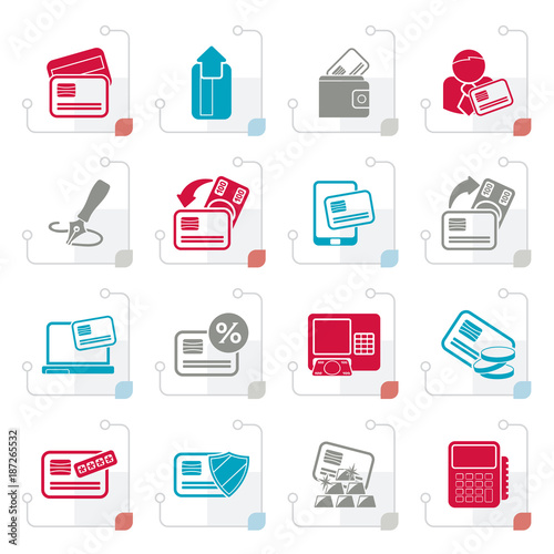 stylized credit card pos terminal and atm icons vector icon set