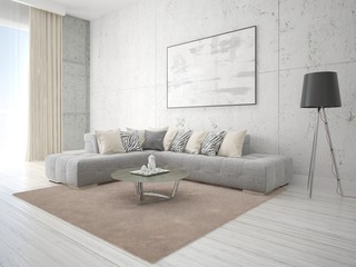 Mock up poster living room with a gray corner sofa on a hipster background.
