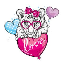 Cute tiger with hearts, glasses and a bow. Vector illustration for a postcard or a poster, print for clothes. Valentine's Day, love and friendship. Tiger cub in clothes and accessories.
