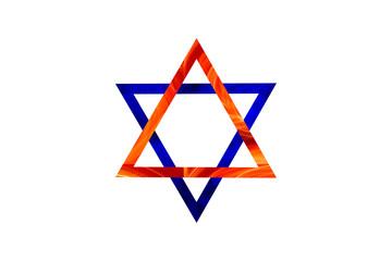 Hexagram. Interlocking ancient fire and water symbols, illustration.