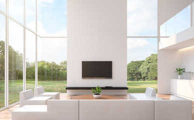 Wall Mural - Modern white  living room with nature view 3d rendering image.The room has wooden floor and white wall.furnished with white leather furniture.There are large windows look out to see the nature