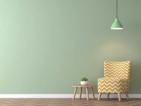 Modern vintage living room with green wall 3d rendering image.There are minimalist style image ,green empty wall and yellow furniture