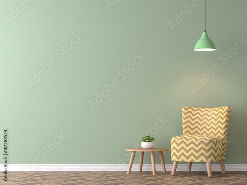 Modern Vintage Living Room With Green Wall 3d Rendering ImageThere Are Minimalist Style Image