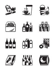 Small grocery store icon set - vector illustration