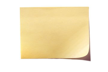 Yellow sticky post note isolated on white