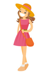Young caucasian white smiling woman in pink dress and panama hat. Vector cartoon illustration isolated on white background.