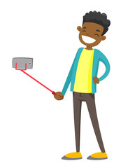 Happy smiling african-american teenager boy taking selfie photo or recording video with smartphone and selfie stick. Vector cartoon illustration isolated on white background.