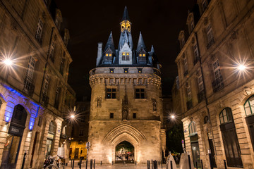 Urban streetview cityscape of Bordeaux France at night