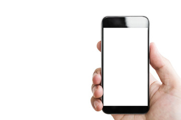 Hand holding mobile smart phone, blank white screen isolated on white background
