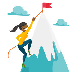 Risky african woman climbing on the peak of mountain with a flag symbolizing business goal. Business goal, achievement and motivation concept. Vector cartoon illustration isolated on white background.