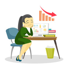 Desperate caucasian white business woman sitting at workplace with laptop computer with charts going down on a screen. Business fail concept. Vector cartoon illustration isolated on white background.