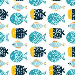 Colorful fish cartoon seamless vector pattern