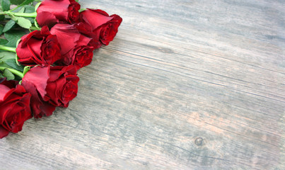 Valentine's Day Red Roses Over Wooden Background, Horizontal, Copy Space
