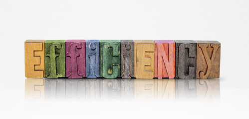 Efficiency Word Block Letters on Isolated White Background