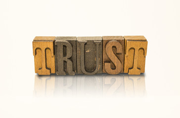 Trust Word Block Letters - Isolated White Background