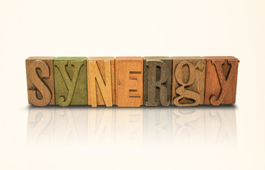 Synergy Word Block Letters - Isolated White Background