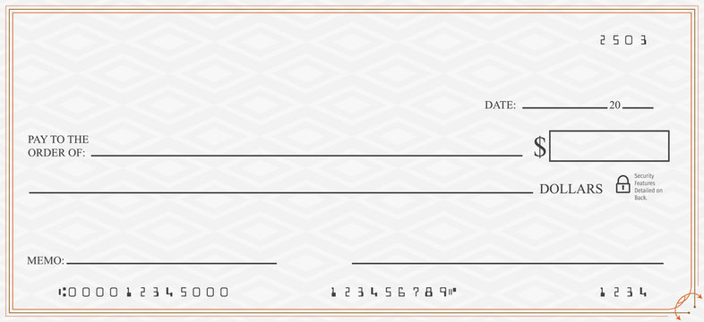 Blank Check with Open Space for Your Text